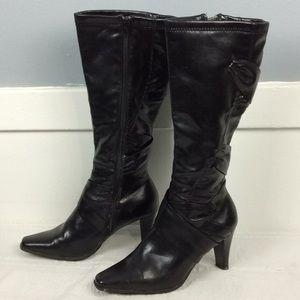 Maurices Ladies Black Calf Heeled Boots Sz 8M